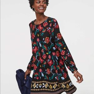 LOFT Black Stained Glass Floral Swing Dress